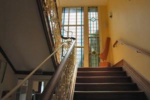 Treppenhaus Glassfassade